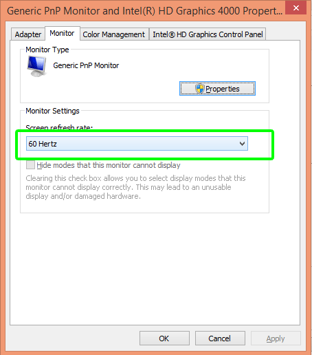 Change to higher refresh rate to fix dell laptop screen flicker problems.
