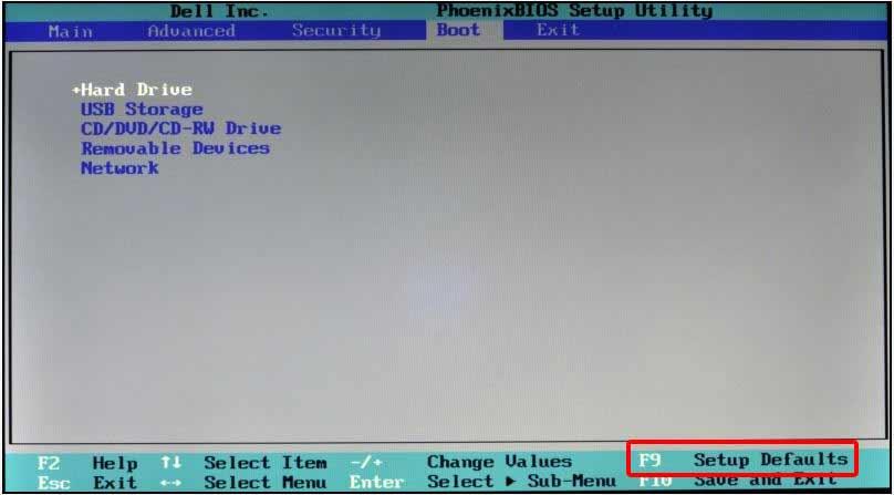 Resetting Dell BIOS menu Settings to default