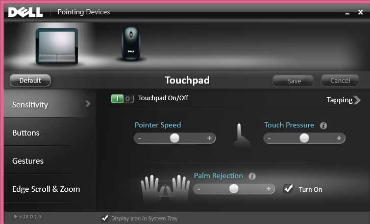 Dell touchpad settings