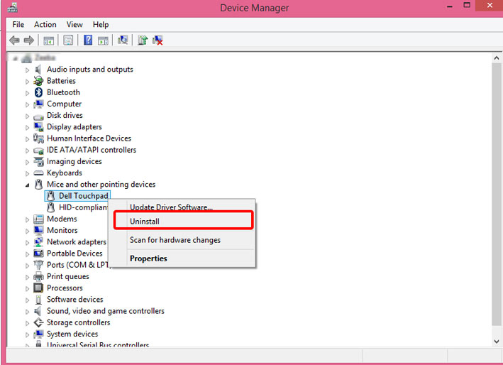 Device manager in Dell laptop