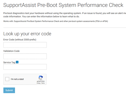 To submit ePSA error codes fill in the form