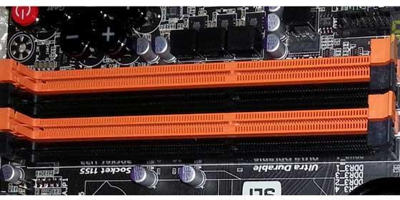 RAM Slots on a desktop mother board