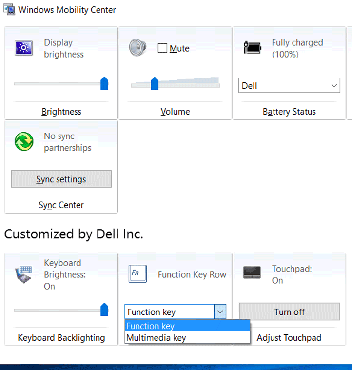 How to Switch function keys in windows mobility center