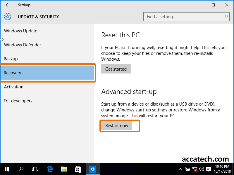 in recovery section select restart now as highlighted