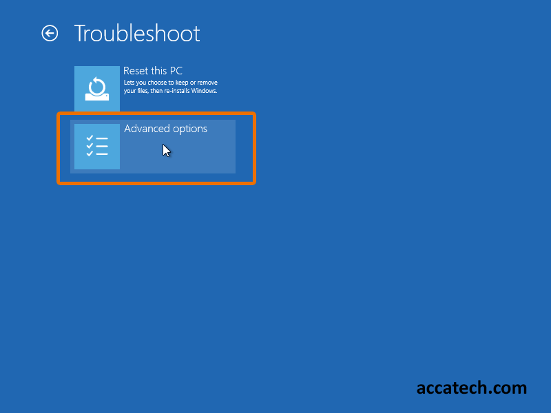 Troubleshoot windows settings, with Rest PC and Advanced options