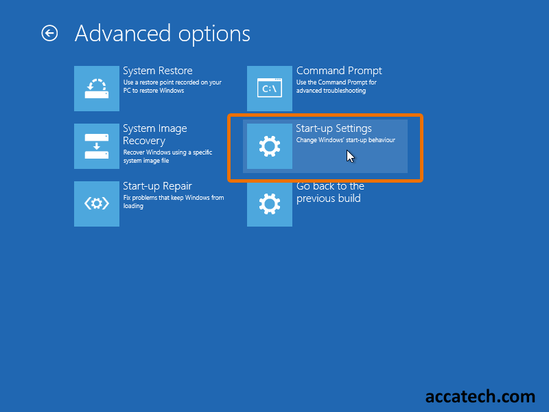 Advanced windows recovery options